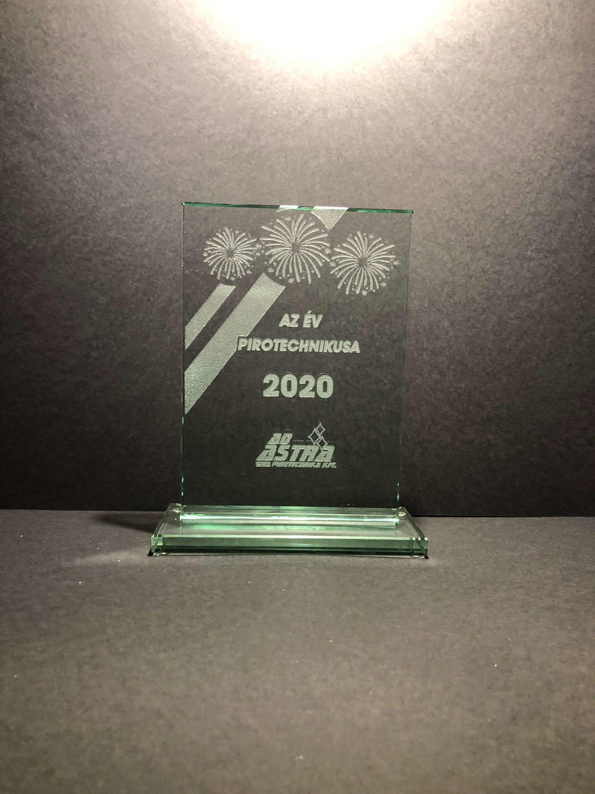 Üveg díj Ad Astra Pirotechnika